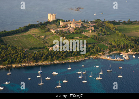 SAINT HONORAT ISLAND (aerial view). Lerins Islands, Cannes, Alpes-Maritimes, French Riviera, France. - Stock Photo