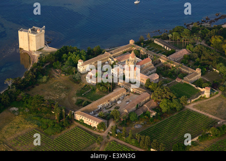 LERINS ABBEY (aerial view). Saint-Honorat Island, Cannes, Alpes-Maritimes, French Riviera, France. - Stock Photo
