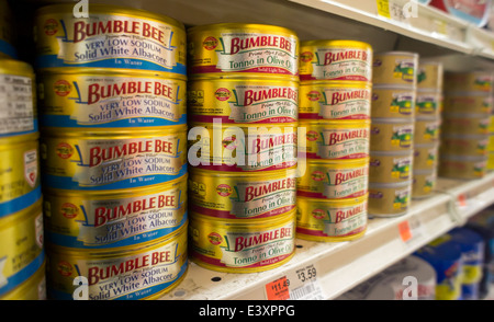 Cans of Bumble Bee solid white albacore tuna on a grocery store shelf in New York - Stock Photo