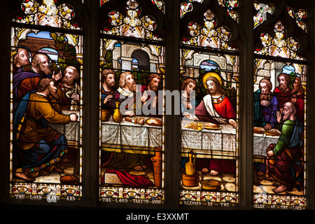 UK England, Suffolk, Bury St Edmunds, St Mary's Church, last supper stained glass window - Stock Photo
