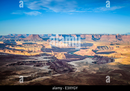 Aerial view of Horseshoe Bend, Canyonlands, Utah, United States - Stock Photo
