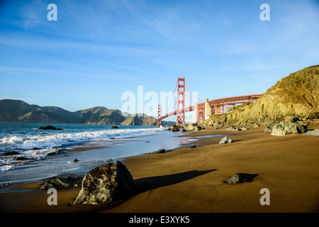 View of Golden Gate Bridge from beach, San Francisco, California, United States - Stock Photo