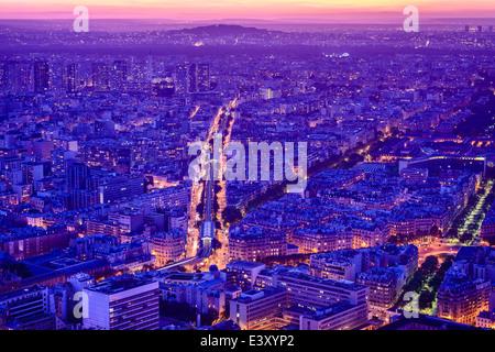 Aerial view of Paris cityscape at night, Paris, Ile de France, France - Stock Photo