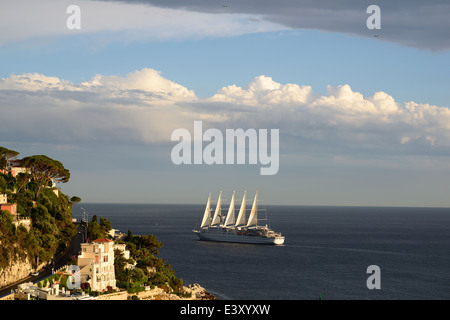 CLUB MED 2 off the coast of Nice, French Riviera, France. World's longest sailing ship with 194 meters (as of 2014). - Stock Photo