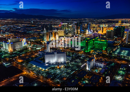Aerial view of Las Vegas cityscape lit up at night, Las Vegas, Nevada, United States - Stock Photo