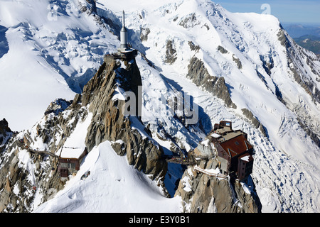 AIGUILLE DU MIDI (3842m amsl) (aerial view). Chamonix Mont-Blanc, Haute-Savoie, France. - Stock Photo