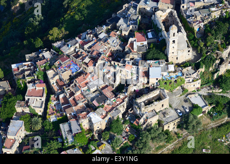 RESURRECTED PERCHED VILLAGE (aerial view). Bussana Vecchia (destroyed by an earthquake, resurrected by artists), - Stock Photo
