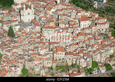 PERCHED MEDIEVAL VILLAGE (aerial view). Ceriana, Province of Imperia, Liguria, Italy. - Stock Photo