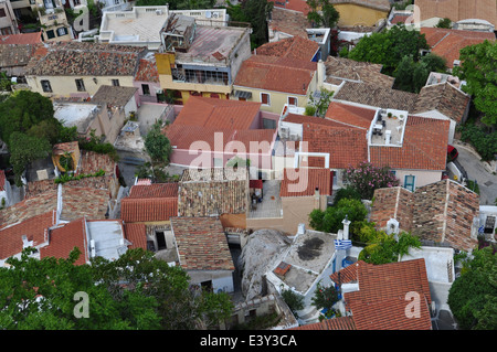 Panoramic view of the traditional Anafiotika neighborhood. Athens, Greece - Stock Photo
