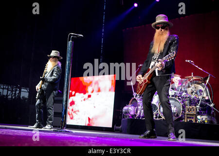 Milan Italy. 30th June 2014. The American Texas blues band ZZ TOP performs live at Ippodromo del Galoppo during - Stock Photo