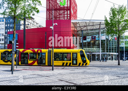 Yellow tram mulhouse alsace france stock photo royalty for Porte jeune mulhouse