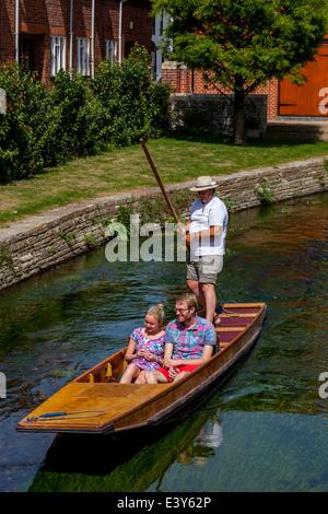 Punting on the River Stour, Canterbury, Kent, UK - Stock Photo