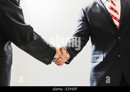 Cropped shot of male business lawyers shaking hands in office - Stock Photo