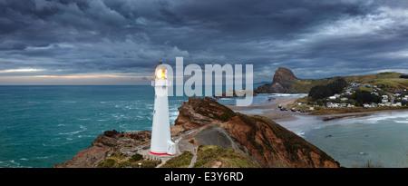 Castle Point Lighthouse, sunrise, Wairarapa New Zealand - Stock Photo