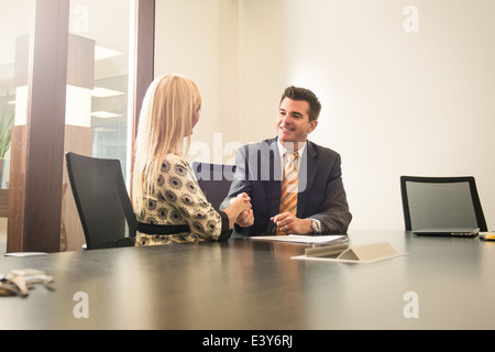 Male and female business lawyers shaking hands in office - Stock Photo