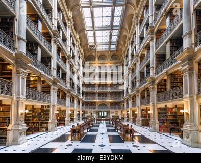 Interior of George Peabody Library, Peabody Institute, Johns Hopkins University, Mount Vernon Place, Baltimore, - Stock Photo