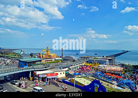 Aerial view showing Southend Pier, Southend-on-Sea, Essex, England, United Kingdom - Stock Photo