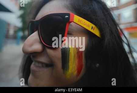 London, UK. 1st July, 2014. Belgian fans in the UK dress up for the game against USA © Gail Orenstein/ZUMAPRESS.com/Alamy - Stock Photo