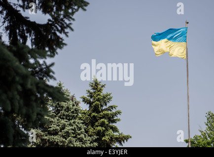 Ukrainian flag on mast against blue sky - Stock Photo