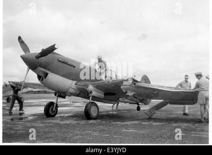 P-40 with wing damage - Stock Photo