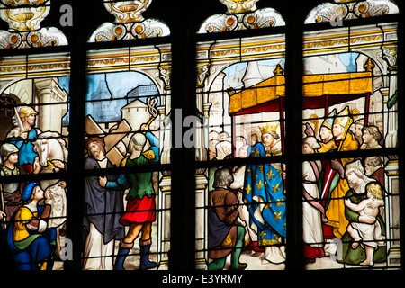 Stained glass windows inside Saint Catherine Church, Honfleur, Normandy, France - Stock Photo