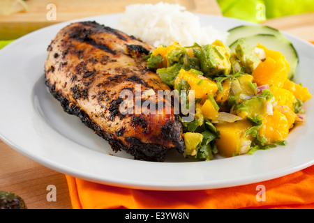 Grilled jJerk chicken meal. Sliced cucumber, mango salad. - Stock Photo