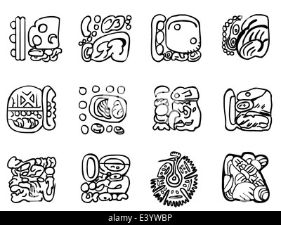 Maya patterns made on the basis of reliefs and sculptures. Human faces, birds, fish and animals. Elements of floral - Stock Photo