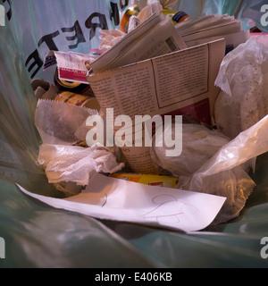 Parisian trash rubbish bin. - Stock Photo