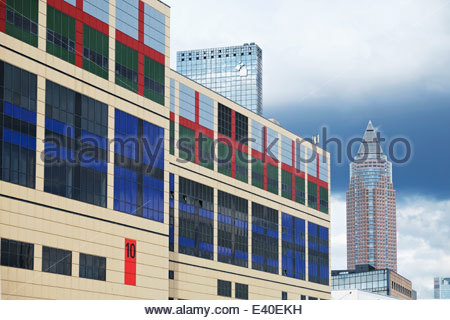 Germany, Hesse, Frankfurt, Trade fair premises, Exhibition hall ten, Messe Torhaus and Trade Fair Tower in the background - Stock Photo
