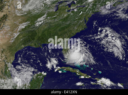 Satellite imagery shows the first Atlantic tropical storm of the 2014 season as it gathers strength off the coast - Stock Photo