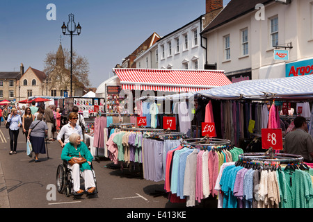 UK England, Suffolk, Bury St Edmunds, Buttermarket, open air market stall selling clothes - Stock Photo
