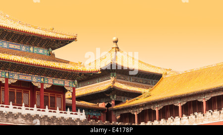 Traditional Chinese architecture at the Forbidden City in Beijing, China. - Stock Photo