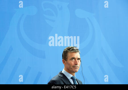Berlin, Germany. 02nd July, 2014. NATO Secretary General Anders Fogh Rasmussen speaks during a press conference - Stock Photo