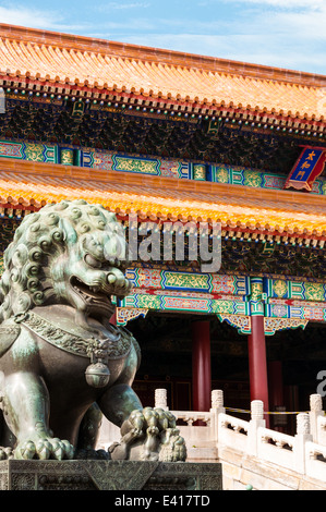 Traditional Chinese architecture at the Forbidden City in Beijing, China.
