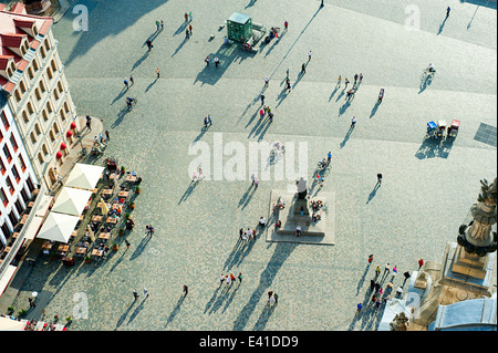 Aerial view of Neumarkt square in Dresden, Germany - Stock Photo