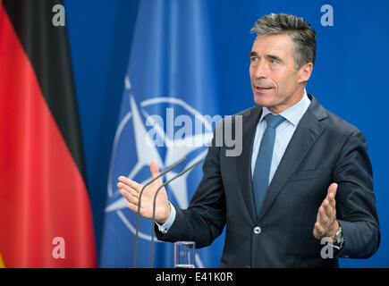 Berlin, Germany. 02nd July, 2014. NATO general secretary Anders Fogh Rasmussen speaks during a joint press conference - Stock Photo