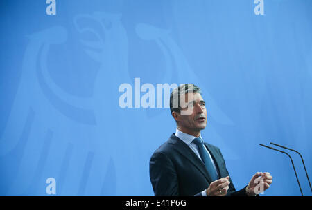 Berlin, Germany. 2nd July, 2014. NATO Secretary General Anders Fogh Rasmussen attends a press conference after a - Stock Photo