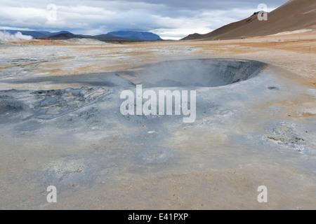 Namajfall Mud Pot or Mud Pool, Namafjall, Hverir, Hverarönd, Myvatn Area, North Iceland - Stock Photo