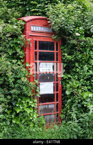 An old telephone kiosk in Herefordshire, UK, almost lost in the overgrown hedge - Stock Photo