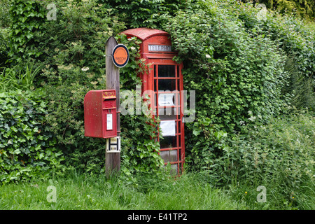 An old telephone kiosk in Herefordshire, UK, almost lost in the overgrown hedge, with a Royal Mail postbox - Stock Photo