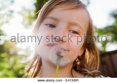 Girl with dandelion clock - Stock Photo
