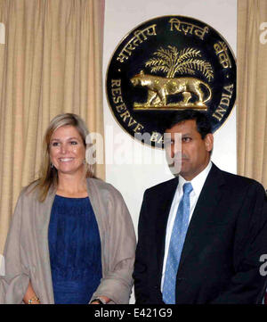Mumbai, India. 2nd July, 2014. Queen Maxima (L) of the Netherlands and Reserve Bank of India (RBI) governor Raghuram - Stock Photo