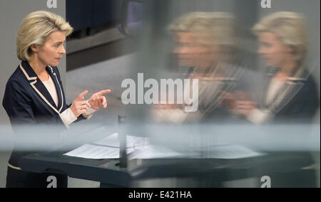 Berlin, Germany. 02nd July, 2014. German Minister of Defence Ursula von der Leyen speaks in the German Bundestag - Stock Photo