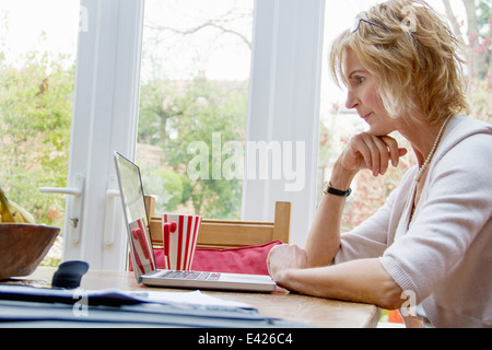 Mature woman using laptop in kitchen - Stock Photo