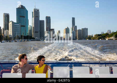 Brisbane Australia Queensland Central Business District CBD Brisbane River CityCat ferry boat public transportation - Stock Photo