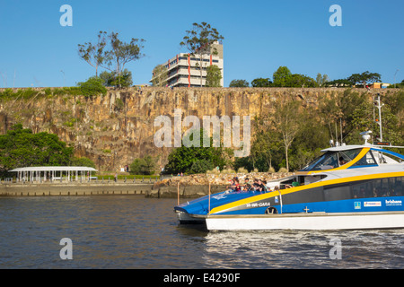 Brisbane Australia Queensland Kangaroo Point Cliffs Brisbane River CityCat ferry boat public transportation riders - Stock Photo