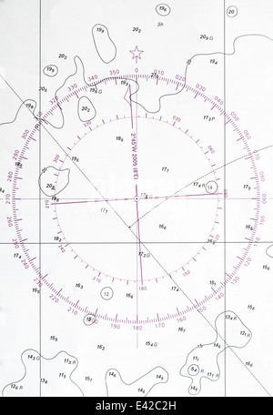 Old Map Navigation Chart With Sailing Ship Stock Photo 1828590