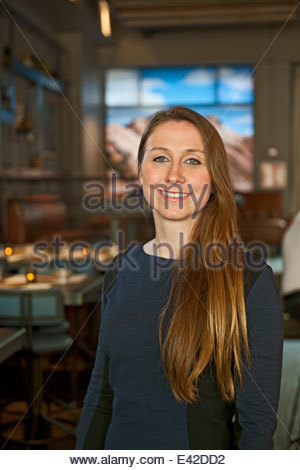 Young businesswoman and bar owner, Reykjavik, Iceland - Stock Photo