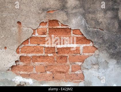 Old weathered brick wall fragment wall of brick.