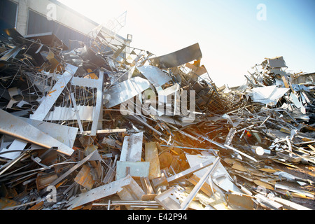 Tangled heap of aluminium in scrap yard - Stock Photo